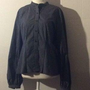 Ralph Lauren black & white Chequers L/S blouse # L
